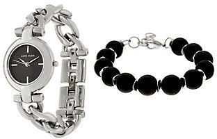 Anne KleinAnne Klein Silvertone Watch and Black Bead Bracelet Set