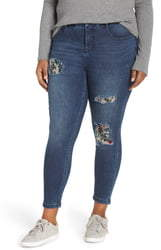 YSJ Floral Patch Ankle Skinny Jeans