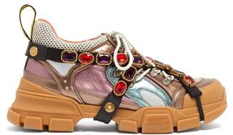 Gucci Flashtrek Crystal Embellished Low Top Trainers - Womens - Multi