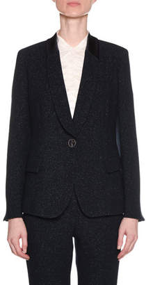 Giorgio Armani One-Button Metallic Double-Face Wool Blazer w/ Satin Collar