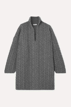 Balenciaga Oversized Cable-knit Wool Sweater - Gray