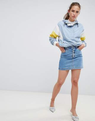 Miss Selfridge denim skirt with button down front
