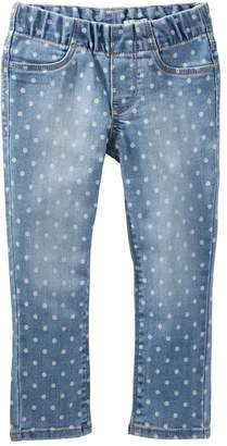 Osh Kosh Oshkosh Bgosh Girls 4-12 Polka-Dot Pull-On Denim Pants