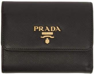 Prada Black Saffiano Trifold Wallet