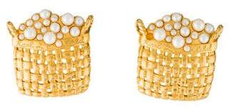 Karl Lagerfeld by Faux Pearl Basket Clip-On Earrings