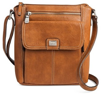 Bolo Women's Faux Leather Crossbody Handbag with Front/Back/Interior Compartments and Zipper Closure - Light Brown $29.99 thestylecure.com