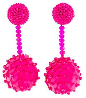 Oscar de la Renta Beaded Ball Clip-On Earrings