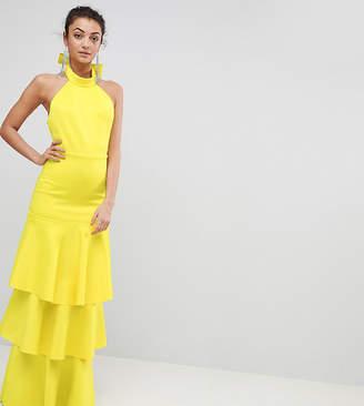 Asos Tall Halter Neck Tiered Bow Back Maxi Dress