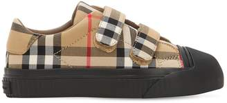 Burberry Check Cotton Strap Sneakers