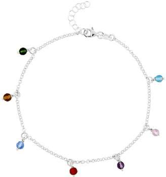 "Sterling 10"" Multi-Colored Bead Station Ankle Bracelet"