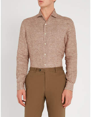 Corneliani Houndstooth-patterned regular-fit linen shirt