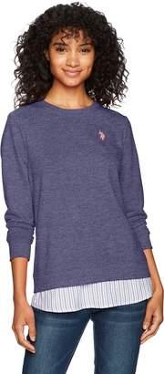 U.S. Polo Assn. Women's 2fer Shirt, Evening Blue-4309, L
