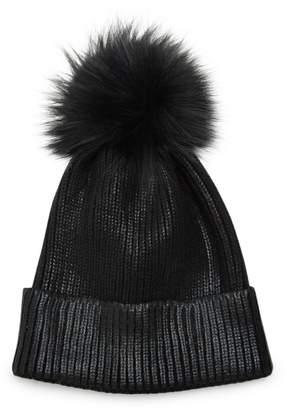 Adrienne Landau Fox Fur Pom-Pom Metallic Beanie