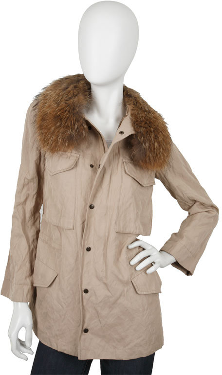 Gryphon Fur Trim Army Coat in Camel