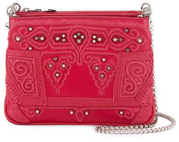 Christian Louboutin Christian Louboutin Triloubi Small Markesa Triple-Gusset Embroidered Shoulder Bag, Pink