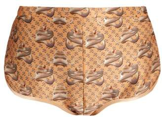 Katie Eary - Snake Print Silk Satin Briefs - Womens - Beige Multi