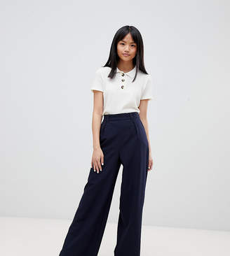 Asos Design Petite The Wide Leg Pant With Pleat Detail