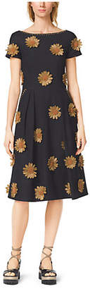 Michael Kors Raffia-Embroidered Silk-Viscose Boatneck Dress