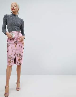 Asos DESIGN Floral Jacquard Pencil Skirt with Front Split