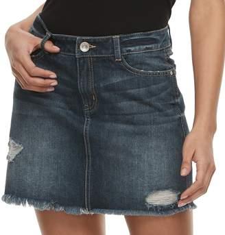 Juniors' Rewash Distressed Dark Wash Mini Jean Skirt