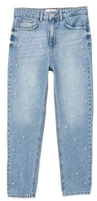 MANGO Pearls straight jeans