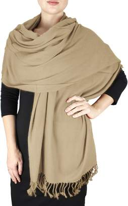 """Couture Peach 28""""x78"""" Large 100% Pure Certified Cashmere Shawl Wrap Scarf"""