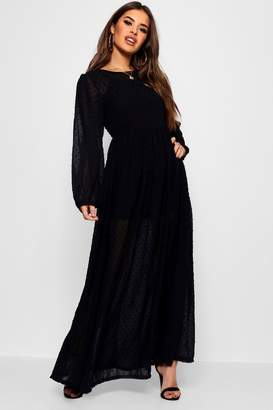 boohoo Petite Beth Balloon Sleeve Dobby Spot Maxi Dress