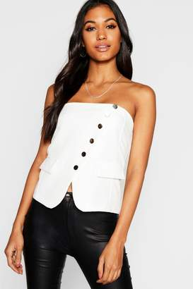 boohoo Button Front Tailored Bustier