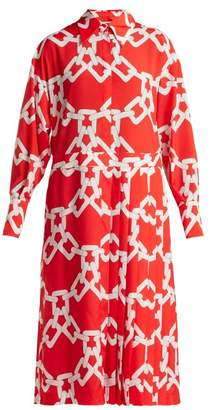 MSGM Chain Print Pleated Crepe Dress - Womens - Red White