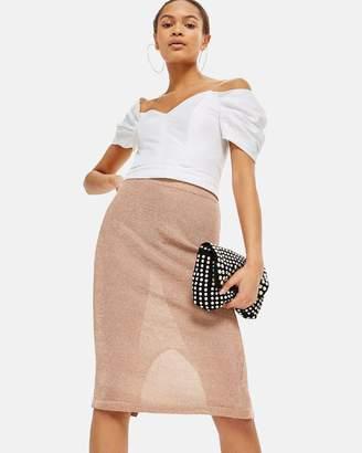 Topshop Metal Yarn Midi Skirt