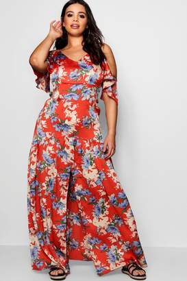 boohoo Plus Floral Print Cold Shoulder Dress
