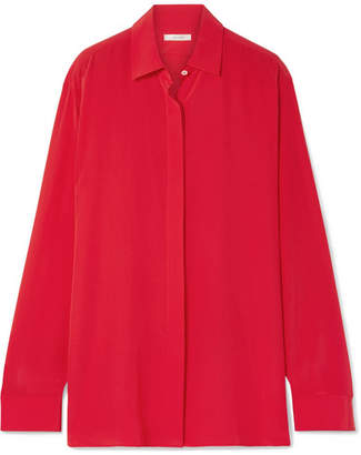 The Row Big Sea Oversized Silk Crepe De Chine Shirt - Red