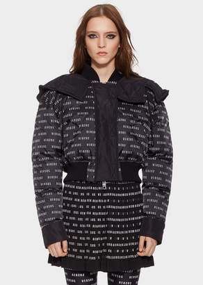 Versace Cropped Hooded Puffer Logo Jacket