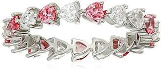 Swarovski Platinum-Plated Sterling Silver Zirconia Heart All-Around Eternity Ring