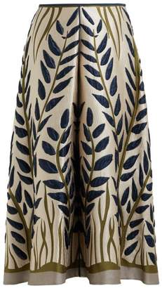 Fendi Leaf Jacquard Midi Skirt - Womens - Gold Multi