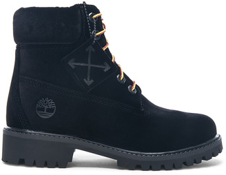 Off-White Off White x Timberland Velvet Hiking Boots in Black | FWRD