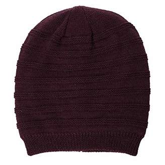 Jeff & Aimy Unisex Cable Knit Slouch Beanie Hat for Men Skull Winter Chemo Beanies Red