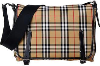 Burberry Large Vintage Check Canvas & Leather Messenger Bag