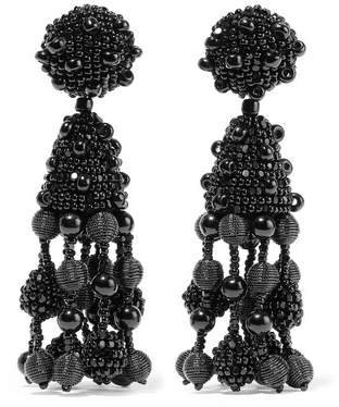Oscar de la Renta Falling Tassel Beaded Silk Clip Earrings - Black