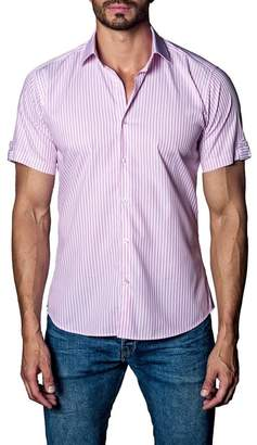 Jared Lang Woven Striped Short Sleeve Trim Fit Shirt