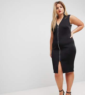 Asos Mesh Insert Bodycon Zip Midi Dress