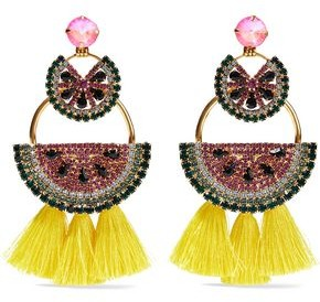 Elizabeth Cole Gold-Tone Crystal And Tassel Earrings