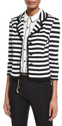 St. John Collection Striped Milano Knit 3/4-Sleeve Jacket $1,295 thestylecure.com
