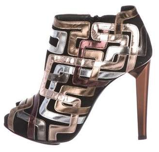 Pierre Hardy Suede-Accented Patent Leather Sandals