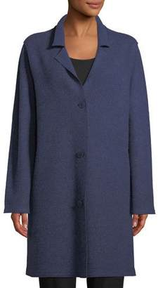 Eileen Fisher Notched-Collar Button-Front Wool Jacket, Plus Size
