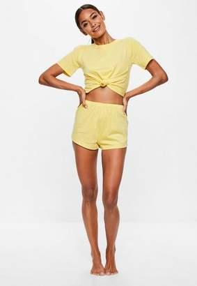Missguided Yellow Tie Detail Shorts Pajama Set