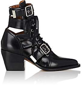 Chloé Women's Rylee Double Buckle Leather Ankle Boots - Black