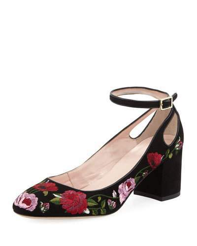 Kate Spade New York Gable Embroidered Suede Pump