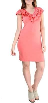 24/7 Comfort Apparel Women's Ruffled Cap Sleeve Knee-Length Dress