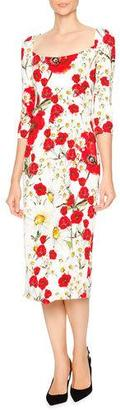 Dolce & Gabbana Open-Neck Poppy & Daisy Cady Sheath Dress, Red/White/Yellow $2,495 thestylecure.com